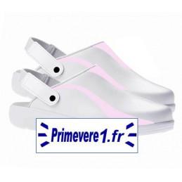 Sabots cuir blanc professionnels de confort garnies rose