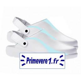 Sabots cuir blanc professionnels de confort garnis vert clair