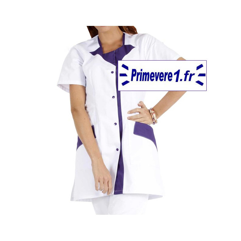 Tunique médicale Femme Rommy couleur blanc garnie bleu