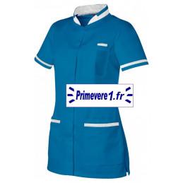 Tunique médicale femme Angele couleur bleu et blanc