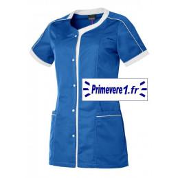 Tunique médicale femme Lou couleur bleu roy et blanc