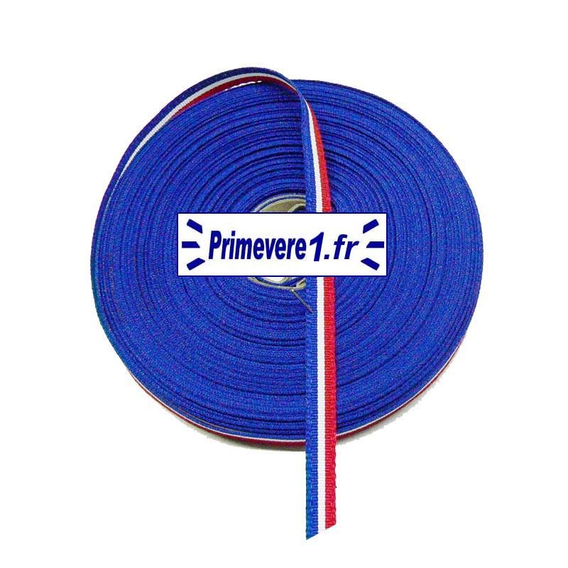 Ruban tricolore 7 mm de large, bobine de 10 mètres