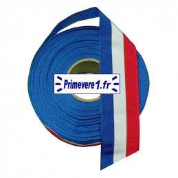 Ruban tricolore 37 mm de large, bobine de 10 mètres