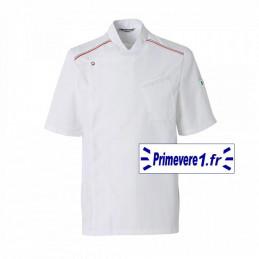 Veste de cuisine métiers de bouche blanche surpiqures drapeau italien