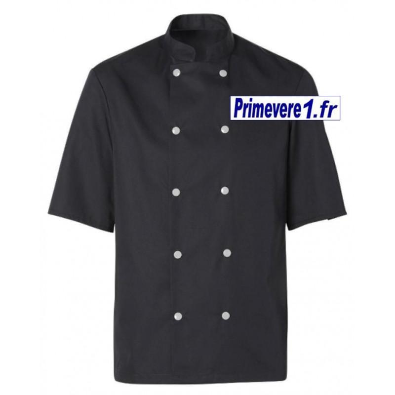 veste noire pour cuisinier, manches courtes , boutons pression