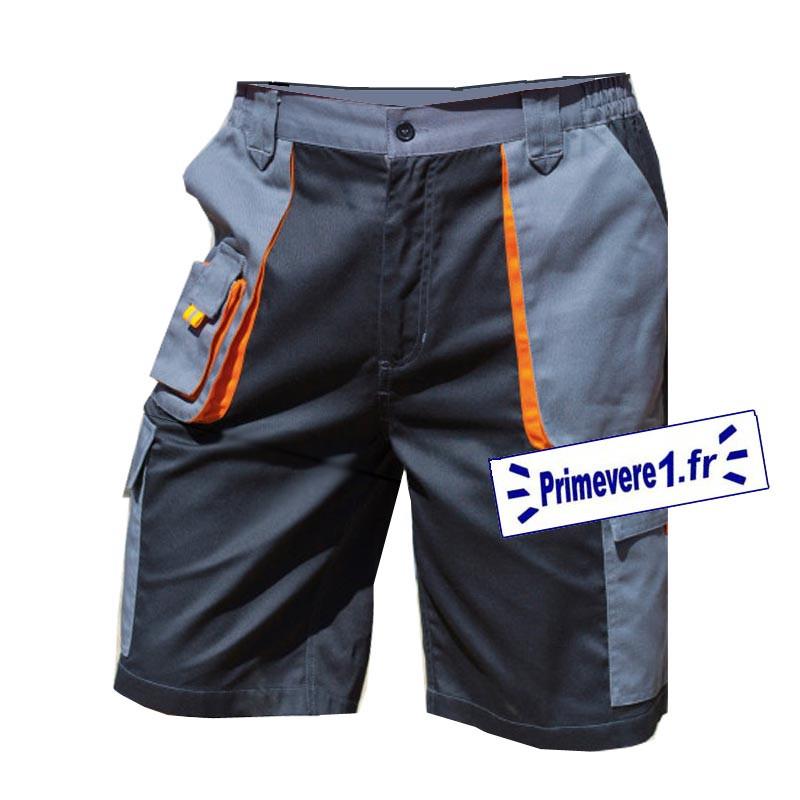 Bermuda de travail gris - noir - garni orange - poches cargo à soufflet