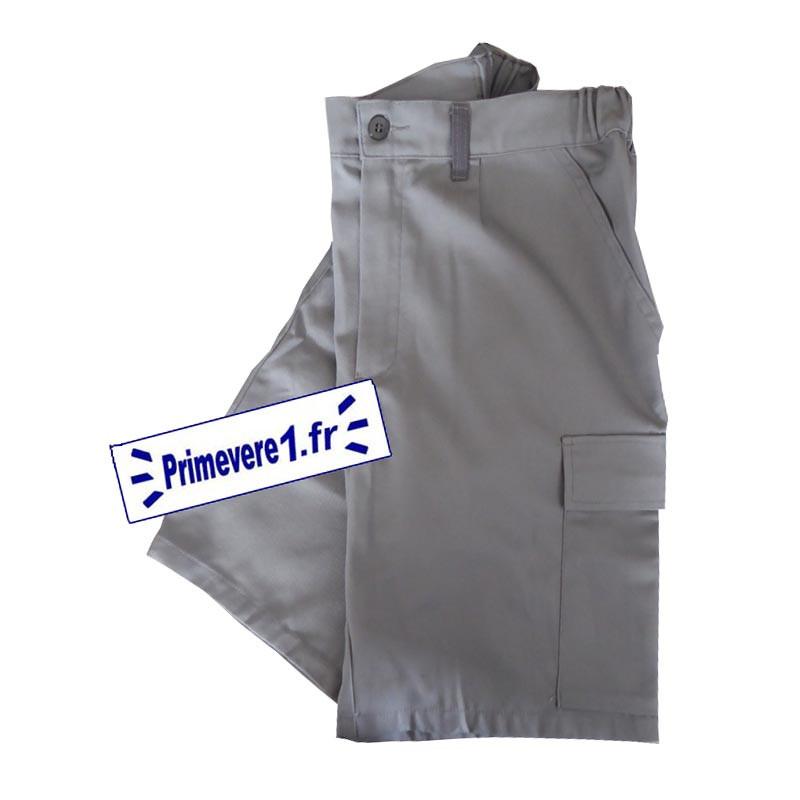 Bermuda de travail gris - poche treillis