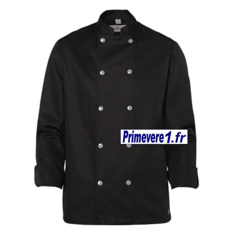 Veste noire manches longues pour cuisinier