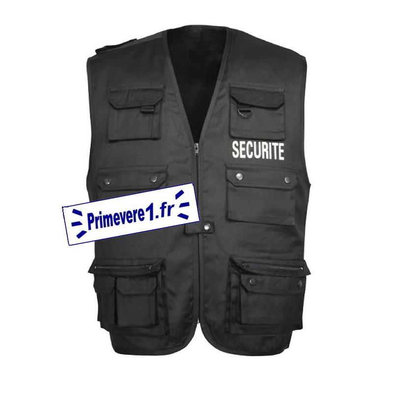 Gilet multi-poches noir bordé SECURITE - devant et dos