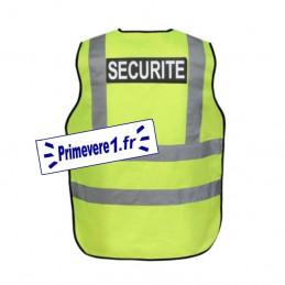 verso - Gilet fluo marqué SECURITE - haute visibilité jaune