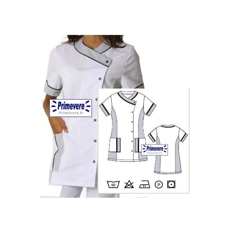 Tunique médicale Femme AMELIE couleur Blanche garnie gris