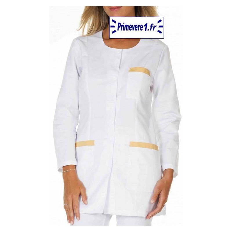 Tunique médicale Femme Carole couleur Blanche garnie poudre