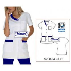 Tunique médicale femme Valentine couleur blanche garnie bleu foncé