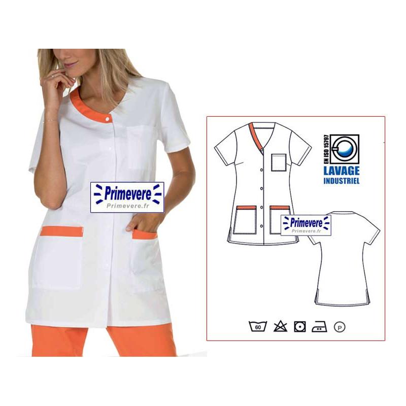 Tunique médicale femme Valentine couleur blanche garnie orange