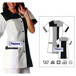 Tunique médicale Femme Perrine couleur Blanche et charbon