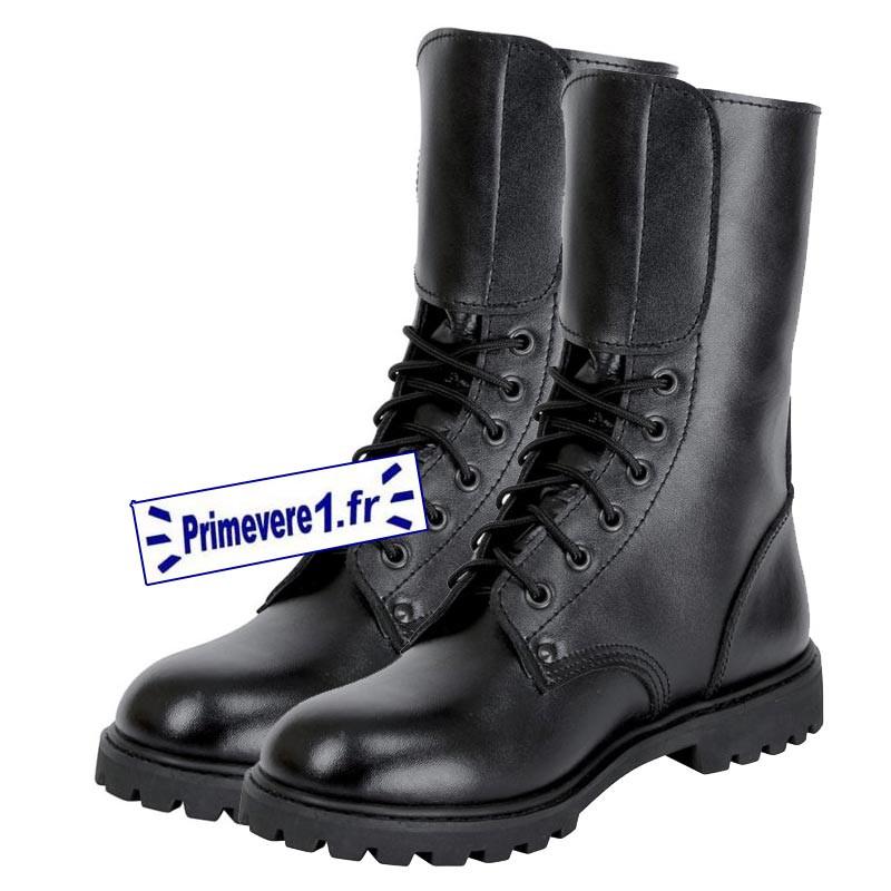 Rangers 2 boucles cuir noir semelle caoutchouc - cousues black