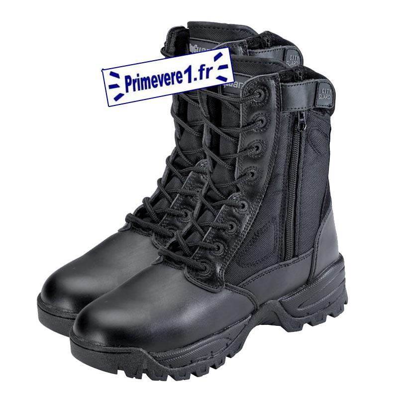 Chaussures intervention - cuir noir et cordura - fermeture glissière
