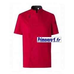 Veste rouge de cuisine manches courtes