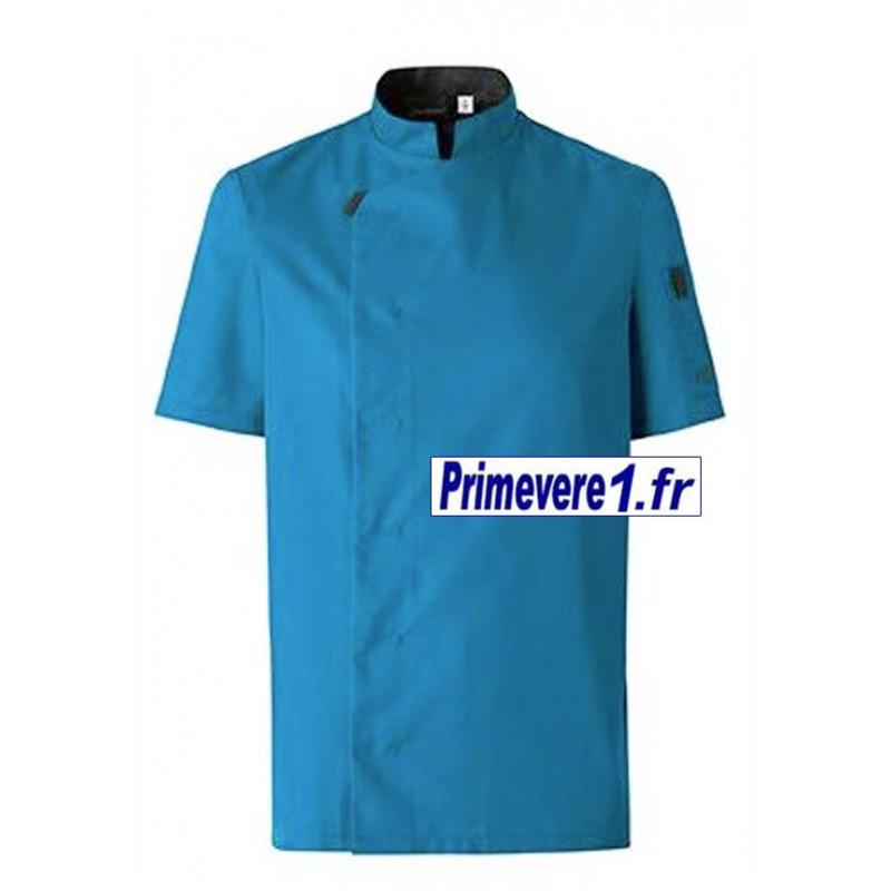 Veste bleu moyen de cuisinier manches courtes