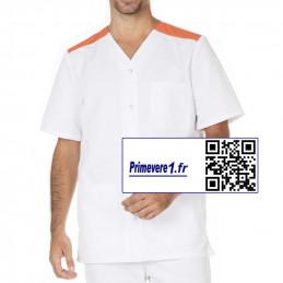 Valentin tunique médicale Homme blanche et orange
