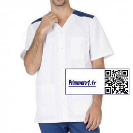 Valentin tunique médicale Homme couleur blanche et bleu marine