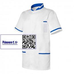 Ange tunique médicale homme blanc et bleu roy