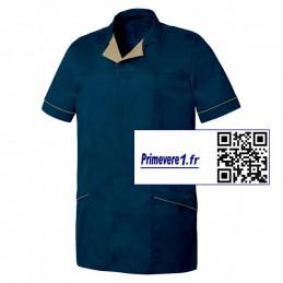 Alexis tunique médicale homme bleu marine et beige