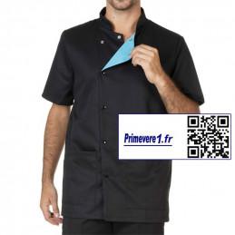Jules tunique médicale homme couleur noir parement turquoise