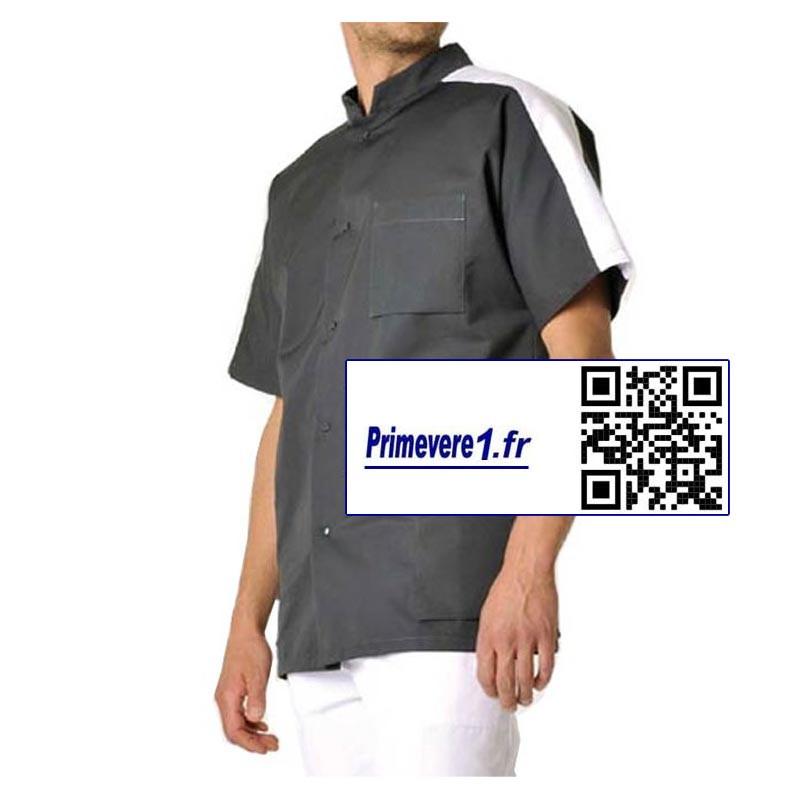 Steeve tunique médicale Homme couleur charbon et blanc