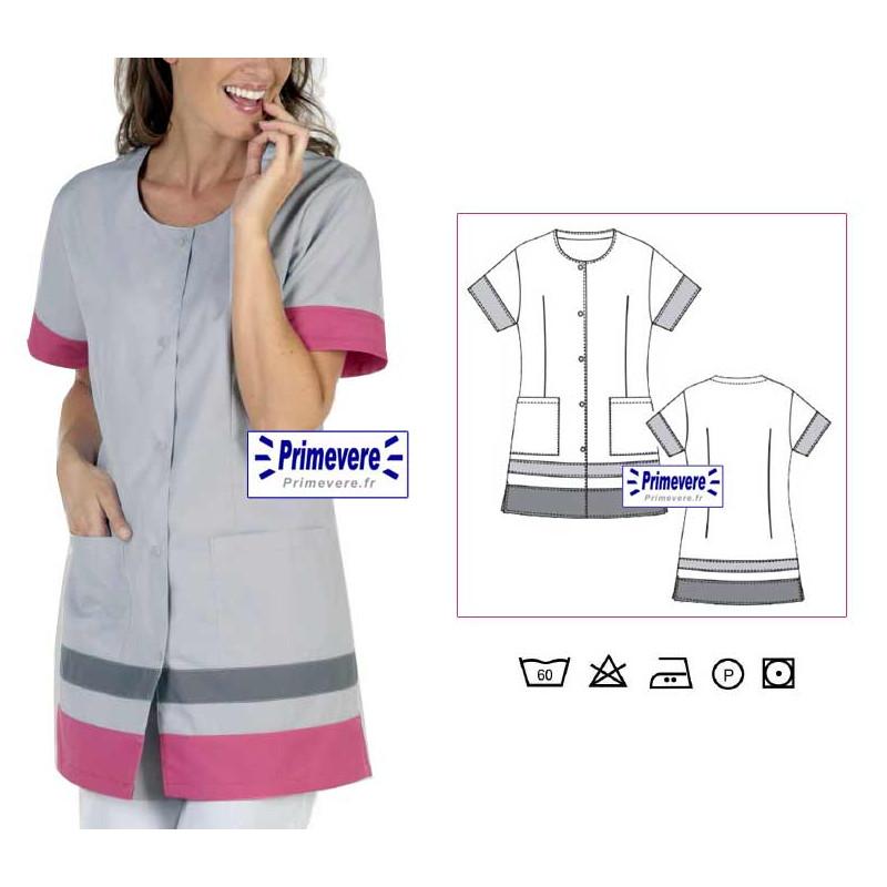 Tunique médicale Femme Noémie couleur Grise et Framboise