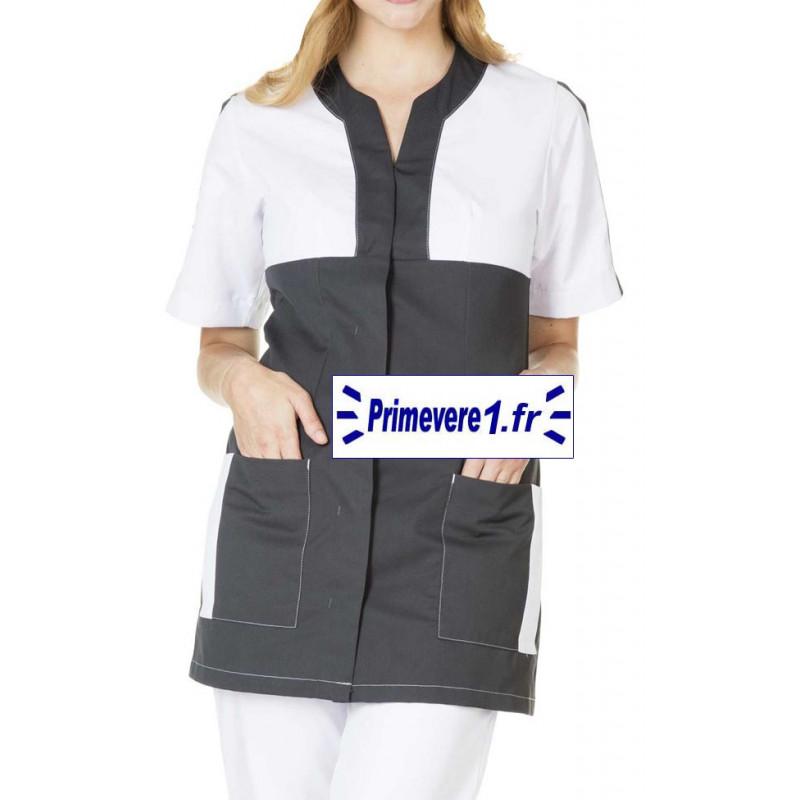 Tunique médicale Femme Claudia couleur Charbon garnie blanc