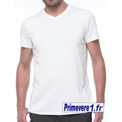 tee-shirt blanc col V, 100% coton