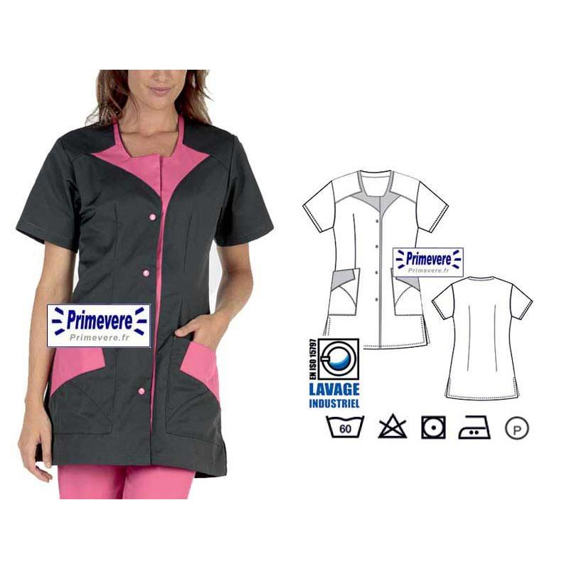 Tunique médicale Femme Rommy couleur charbon garnie framboise