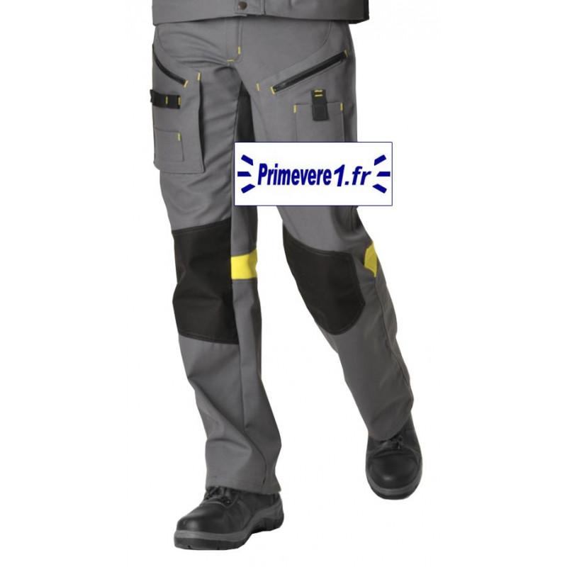 pantalon de travail et de bricolage, tissu épais, gris noir et jaune