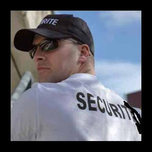 Sécurité privée uniforme noir et équipement | Primevere